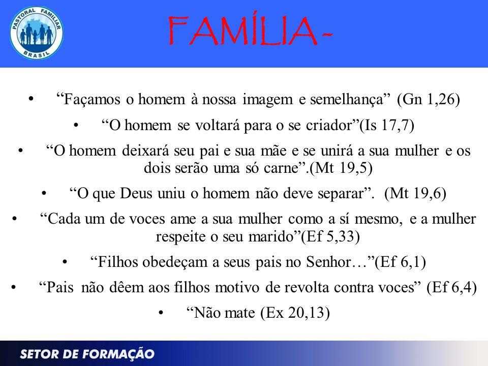 FAMÍLIA - Façamos o homem à nossa imagem e semelhança (Gn 1,26) O homem se voltará para o se criador(Is 17,7) O homem deixará seu pai e sua mãe e se u