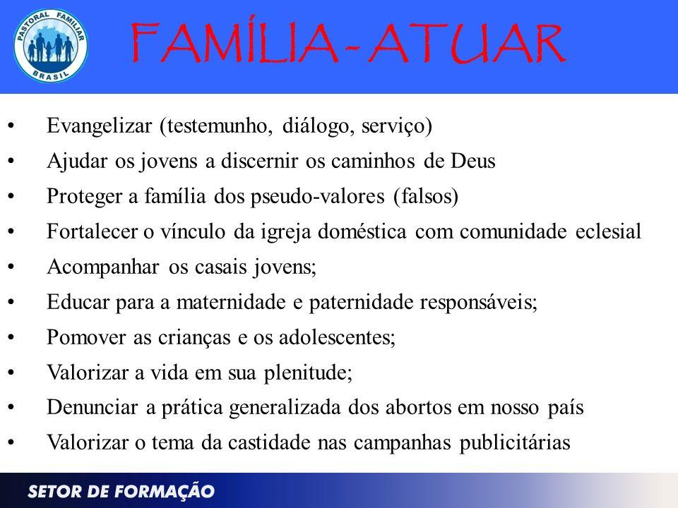 FAMÍLIA - ATUAR Evangelizar (testemunho, diálogo, serviço) Ajudar os jovens a discernir os caminhos de Deus Proteger a família dos pseudo-valores (fal