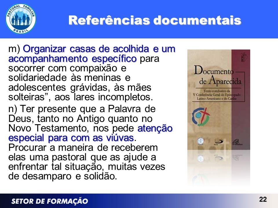 Referências documentais Organizar casas de acolhida e um acompanhamento específico m) Organizar casas de acolhida e um acompanhamento específico para