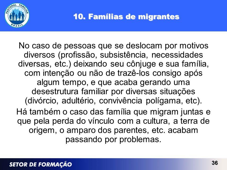 10. Famílias de migrantes No caso de pessoas que se deslocam por motivos diversos (profissão, subsistência, necessidades diversas, etc.) deixando seu
