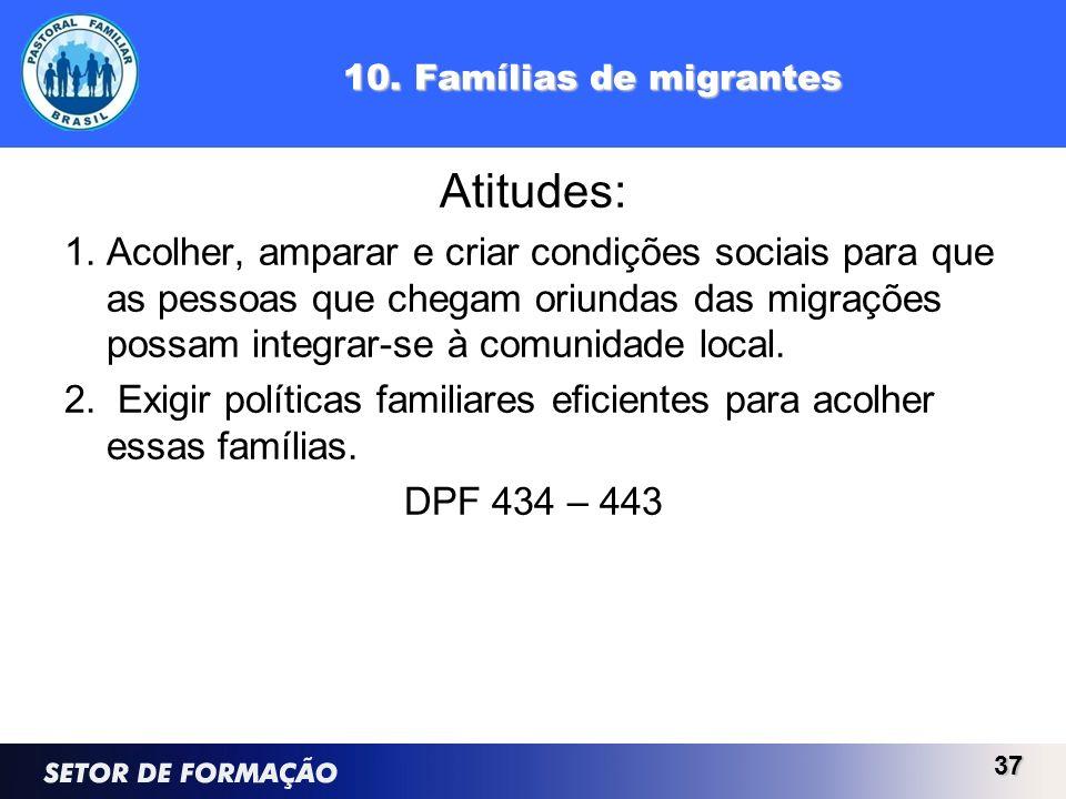 10. Famílias de migrantes Atitudes: 1.Acolher, amparar e criar condições sociais para que as pessoas que chegam oriundas das migrações possam integrar