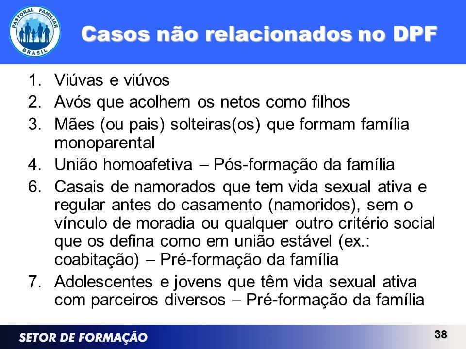 Casos não relacionados no DPF 1.Viúvas e viúvos 2.Avós que acolhem os netos como filhos 3.Mães (ou pais) solteiras(os) que formam família monoparental