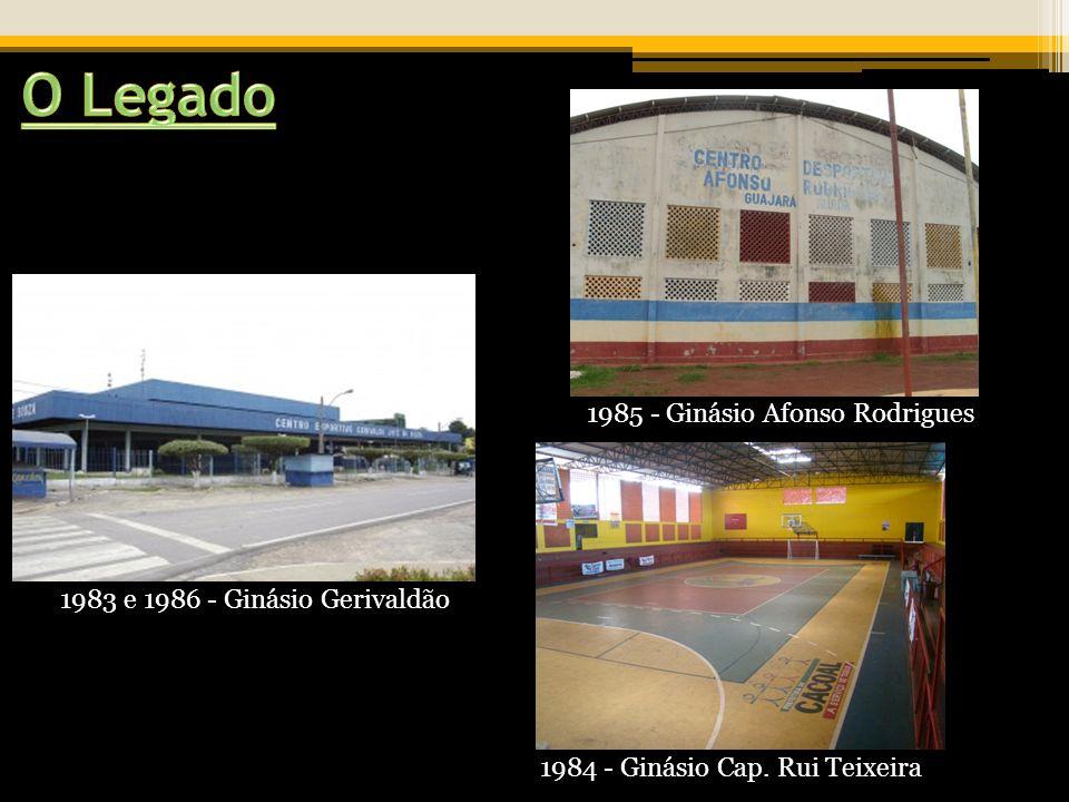 1983 e 1986 - Ginásio Gerivaldão 1984 - Ginásio Cap. Rui Teixeira 1985 - Ginásio Afonso Rodrigues