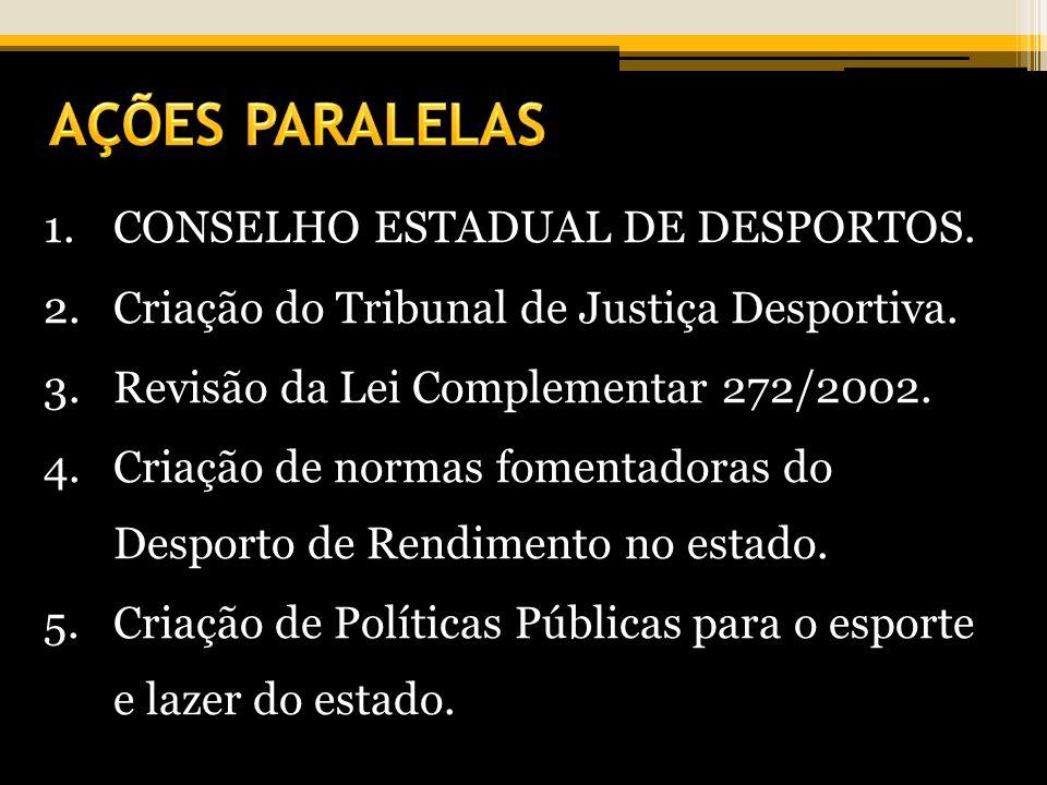1.CONSELHO ESTADUAL DE DESPORTOS. 2.Criação do Tribunal de Justiça Desportiva. 3.Revisão da Lei Complementar 272/2002. 4.Criação de normas fomentadora