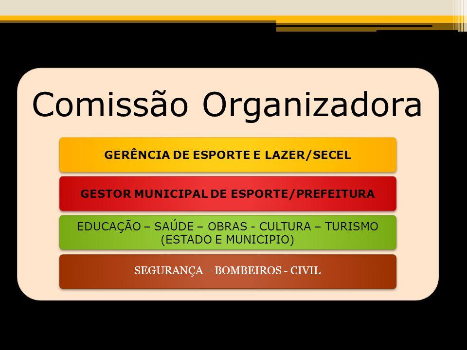 Comissão Organizadora GERÊNCIA DE ESPORTE E LAZER/SECELGESTOR MUNICIPAL DE ESPORTE/PREFEITURA EDUCAÇÃO – SAÚDE – OBRAS - CULTURA – TURISMO (ESTADO E MUNICIPIO) SEGURANÇA – BOMBEIROS - CIVIL