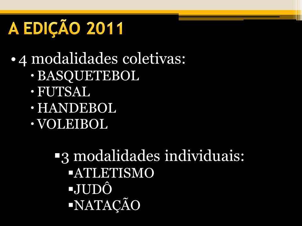 4 modalidades coletivas: BASQUETEBOL FUTSAL HANDEBOL VOLEIBOL 3 modalidades individuais: ATLETISMO JUDÔ NATAÇÃO