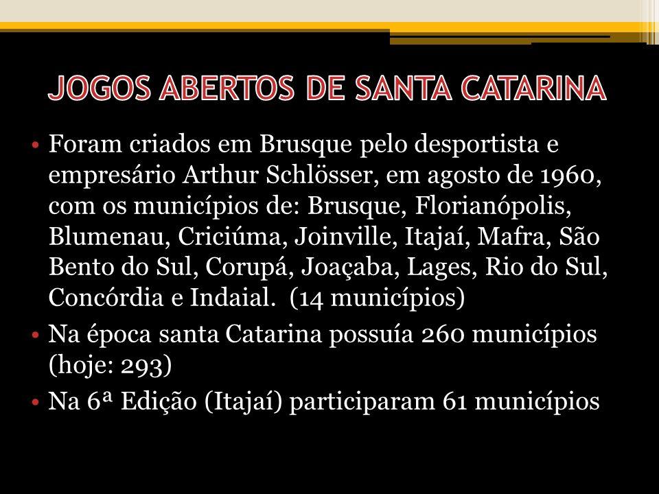 Foram criados em Brusque pelo desportista e empresário Arthur Schlösser, em agosto de 1960, com os municípios de: Brusque, Florianópolis, Blumenau, Cr