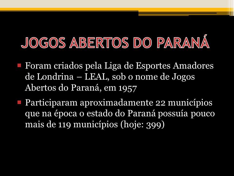 Foram criados pela Liga de Esportes Amadores de Londrina – LEAL, sob o nome de Jogos Abertos do Paraná, em 1957 Participaram aproximadamente 22 municípios que na época o estado do Paraná possuía pouco mais de 119 municípios (hoje: 399)