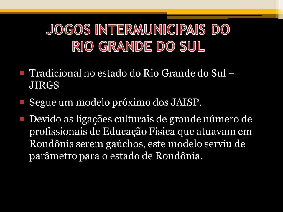 Tradicional no estado do Rio Grande do Sul – JIRGS Segue um modelo próximo dos JAISP. Devido as ligações culturais de grande número de profissionais d