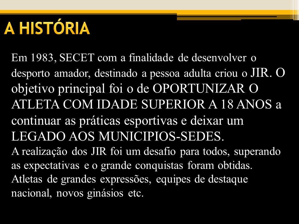 Em 1983, SECET com a finalidade de desenvolver o desporto amador, destinado a pessoa adulta criou o JIR. O objetivo principal foi o de OPORTUNIZAR O A