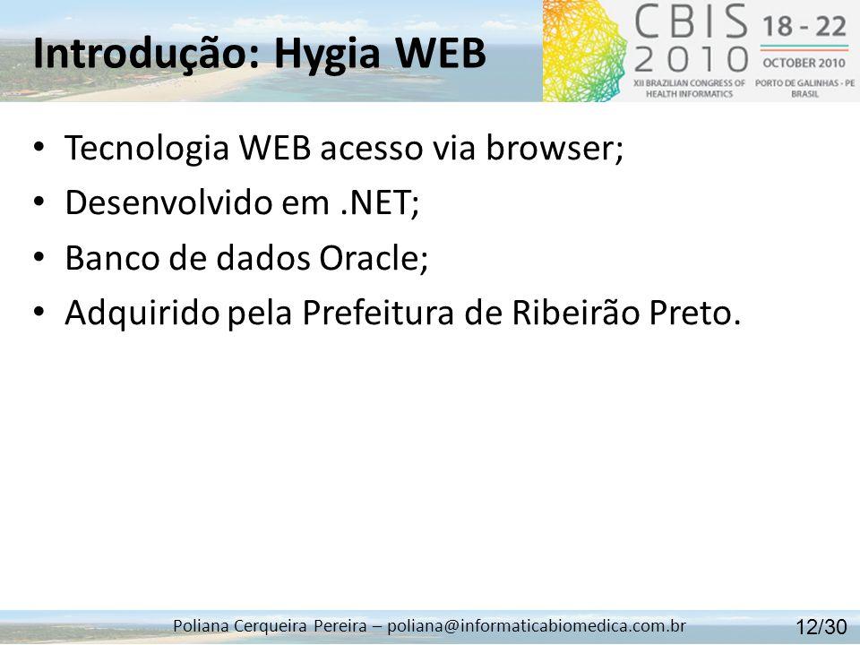 Introdução: Hygia WEB Poliana Cerqueira Pereira – poliana@informaticabiomedica.com.br Tecnologia WEB acesso via browser; Desenvolvido em.NET; Banco de