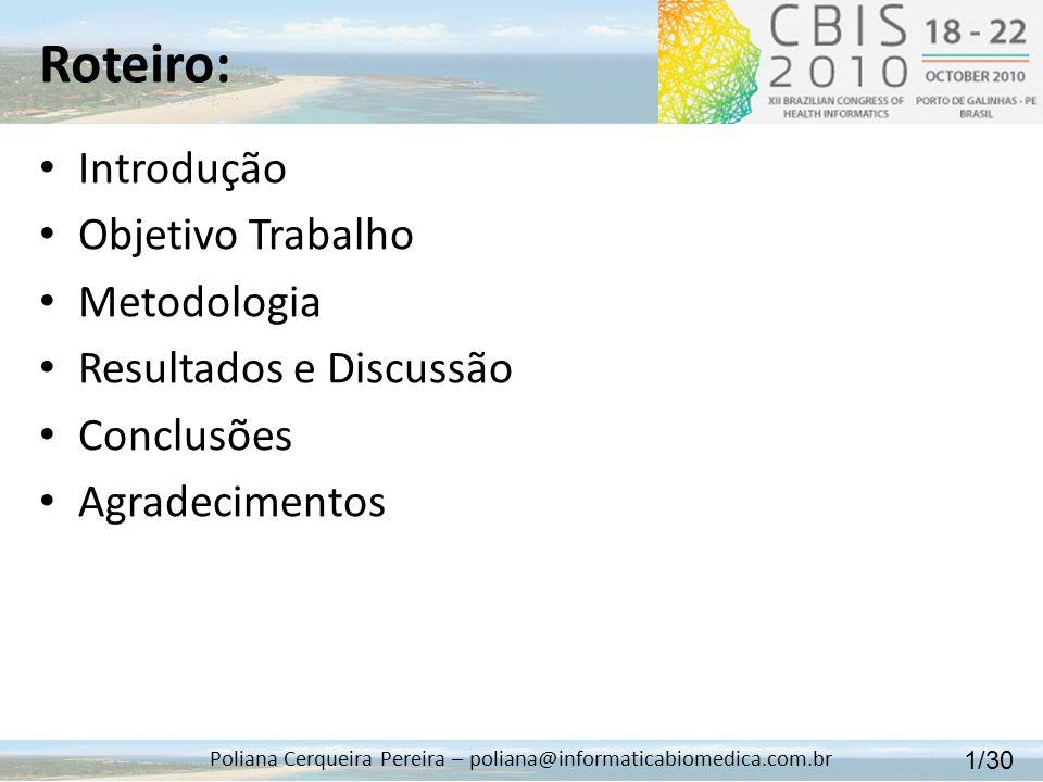 Roteiro: Poliana Cerqueira Pereira – poliana@informaticabiomedica.com.br Introdução Objetivo Trabalho Metodologia Resultados e Discussão Conclusões Ag