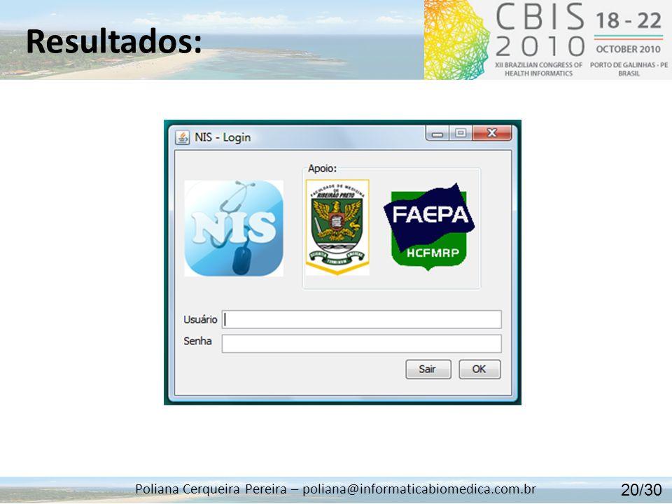 Resultados: Poliana Cerqueira Pereira – poliana@informaticabiomedica.com.br Sincronização dos Dados: 21/30