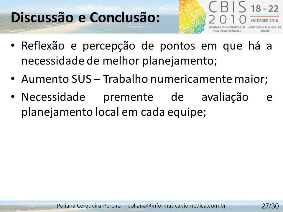 Discussão e Conclusão: Poliana Cerqueira Pereira – poliana@informaticabiomedica.com.br Reflexão e percepção de pontos em que há a necessidade de melho