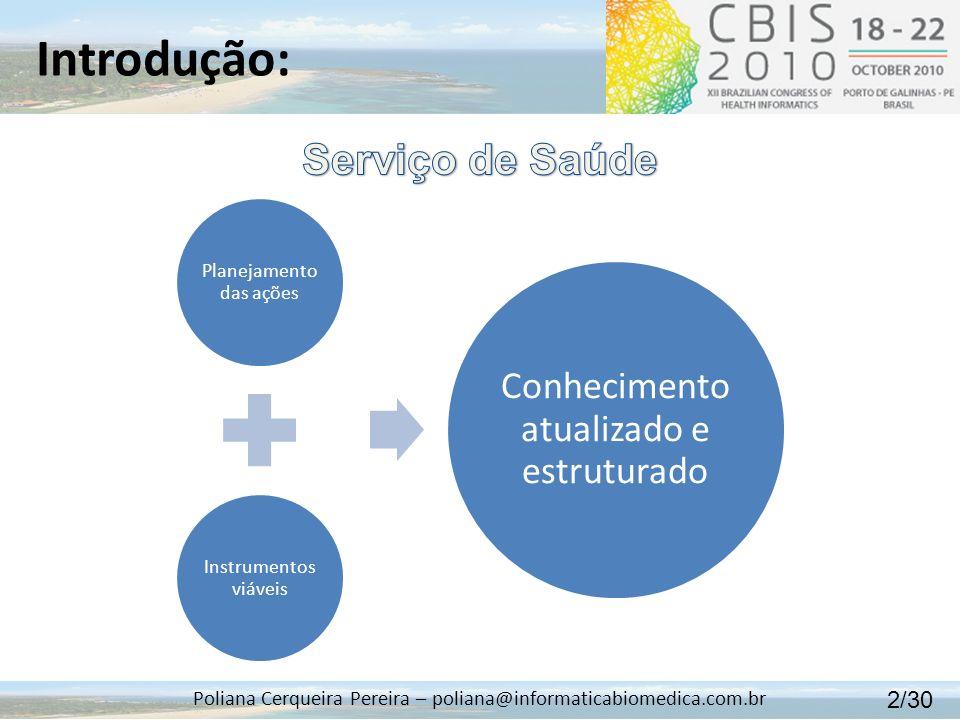 Introdução: Poliana Cerqueira Pereira – poliana@informaticabiomedica.com.br Planejamento das ações Instrumentos viáveis Conhecimento atualizado e estr