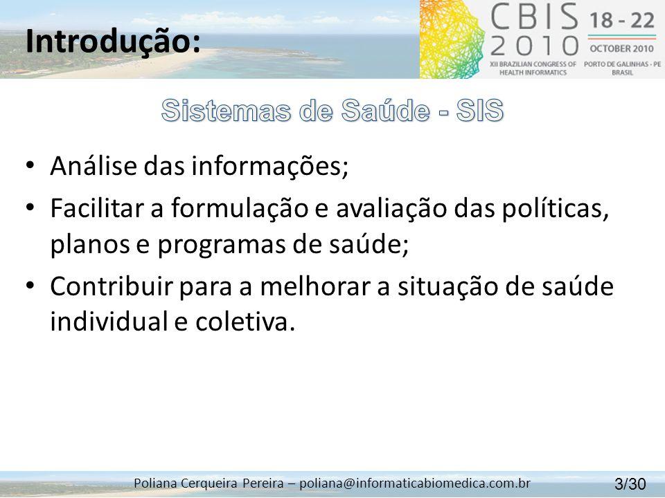 Introdução: Poliana Cerqueira Pereira – poliana@informaticabiomedica.com.br Análise das informações; Facilitar a formulação e avaliação das políticas,