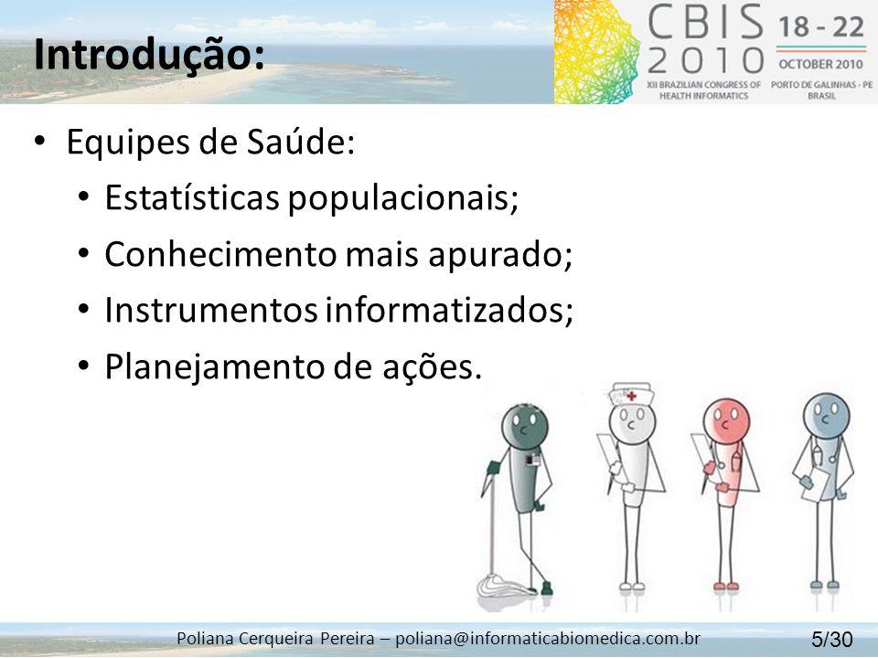 Introdução: Poliana Cerqueira Pereira – poliana@informaticabiomedica.com.br Equipes de Saúde: Estatísticas populacionais; Conhecimento mais apurado; I