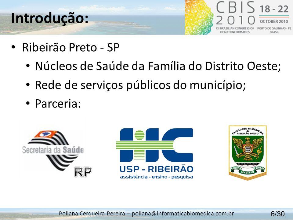 Introdução: Poliana Cerqueira Pereira – poliana@informaticabiomedica.com.br Ribeirão Preto - SP Núcleos de Saúde da Família do Distrito Oeste; Rede de