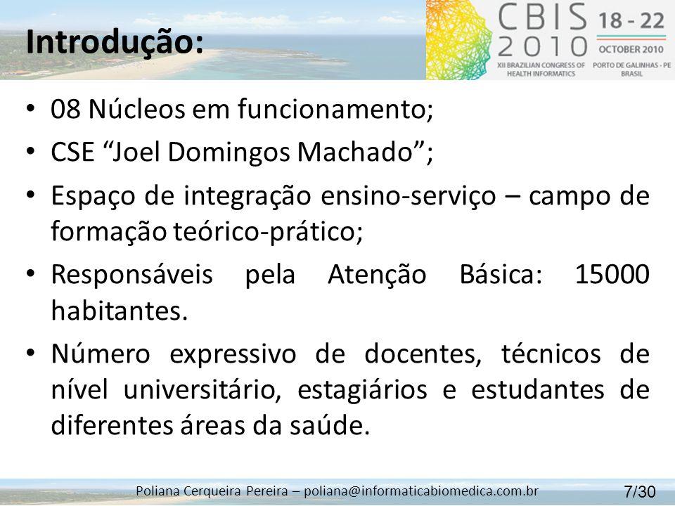 Introdução: Poliana Cerqueira Pereira – poliana@informaticabiomedica.com.br 08 Núcleos em funcionamento; CSE Joel Domingos Machado; Espaço de integraç