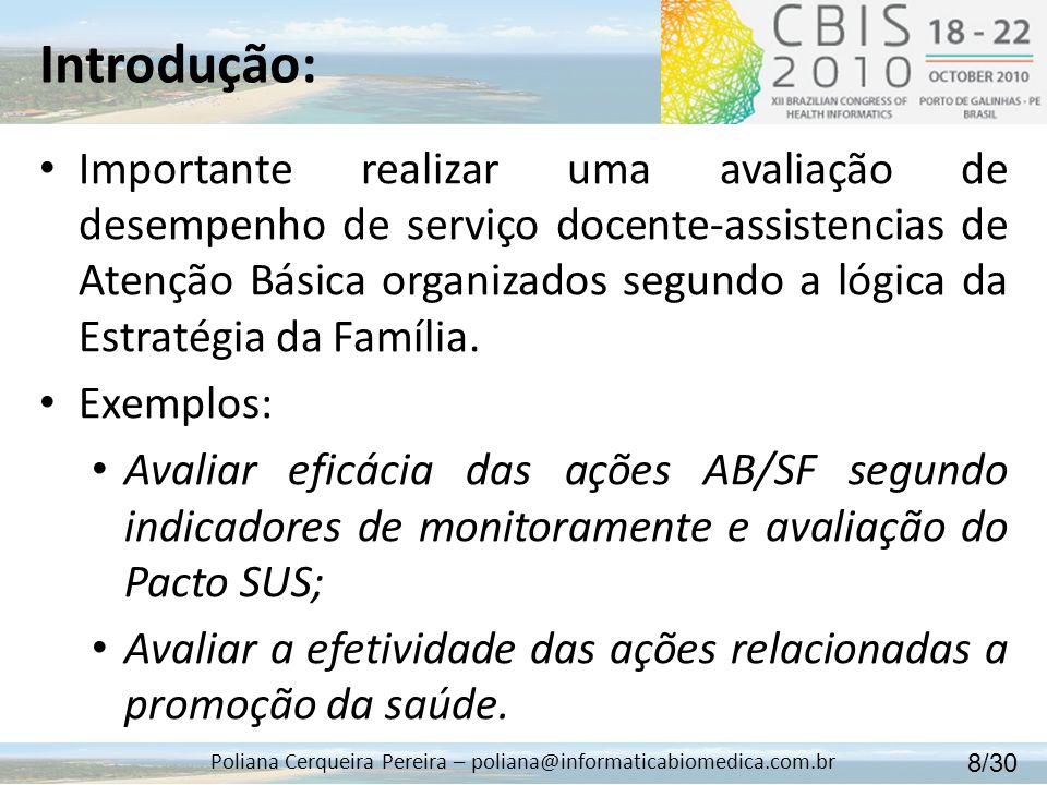 Introdução: Poliana Cerqueira Pereira – poliana@informaticabiomedica.com.br Essa avaliação que engloba o estudo da população e das atividades de assistência à saúde são obtidas: 9/30