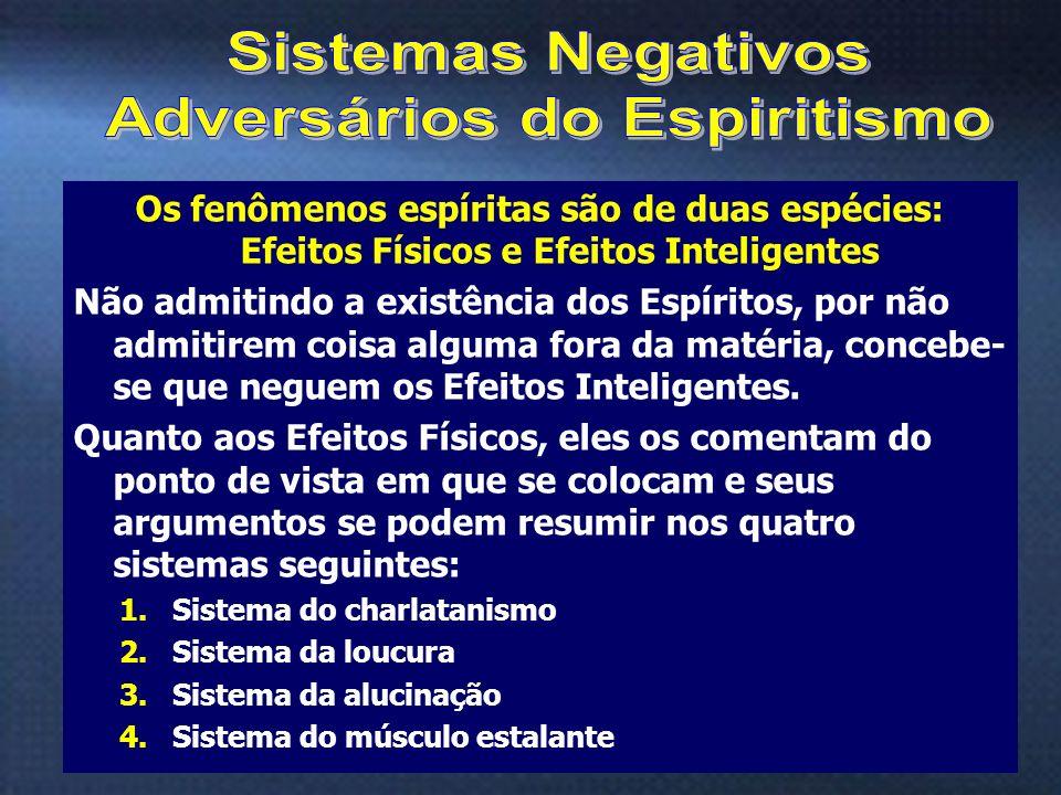 10 Os fenômenos espíritas são de duas espécies: Efeitos Físicos e Efeitos Inteligentes Não admitindo a existência dos Espíritos, por não admitirem coi