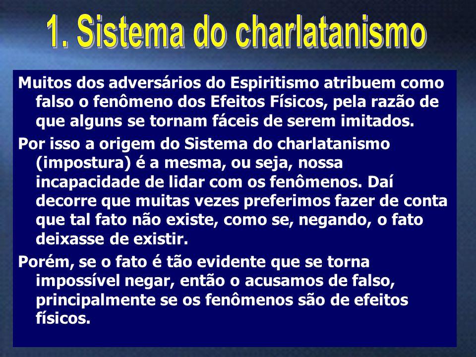 11 Muitos dos adversários do Espiritismo atribuem como falso o fenômeno dos Efeitos Físicos, pela razão de que alguns se tornam fáceis de serem imitad