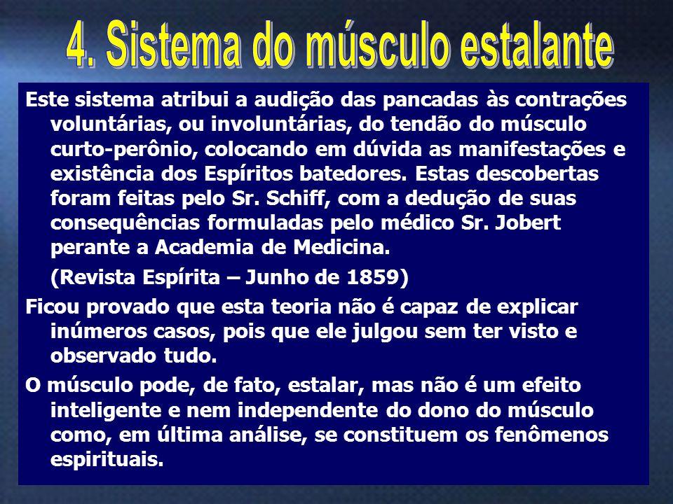 15 Este sistema atribui a audição das pancadas às contrações voluntárias, ou involuntárias, do tendão do músculo curto-perônio, colocando em dúvida as
