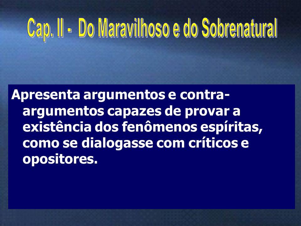 4 Apresenta argumentos e contra- argumentos capazes de provar a existência dos fenômenos espíritas, como se dialogasse com críticos e opositores.