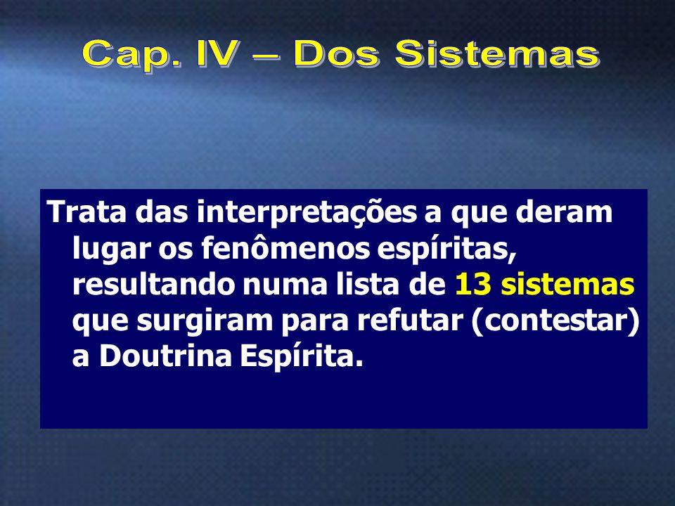 6 Trata das interpretações a que deram lugar os fenômenos espíritas, resultando numa lista de 13 sistemas que surgiram para refutar (contestar) a Dout