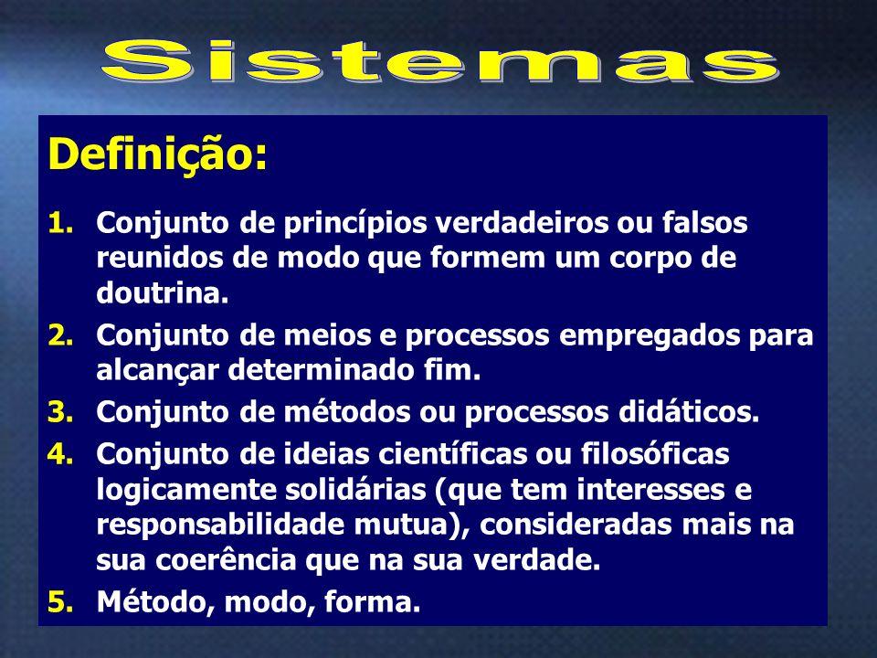 7 1.Conjunto de princípios verdadeiros ou falsos reunidos de modo que formem um corpo de doutrina. 2.Conjunto de meios e processos empregados para alc