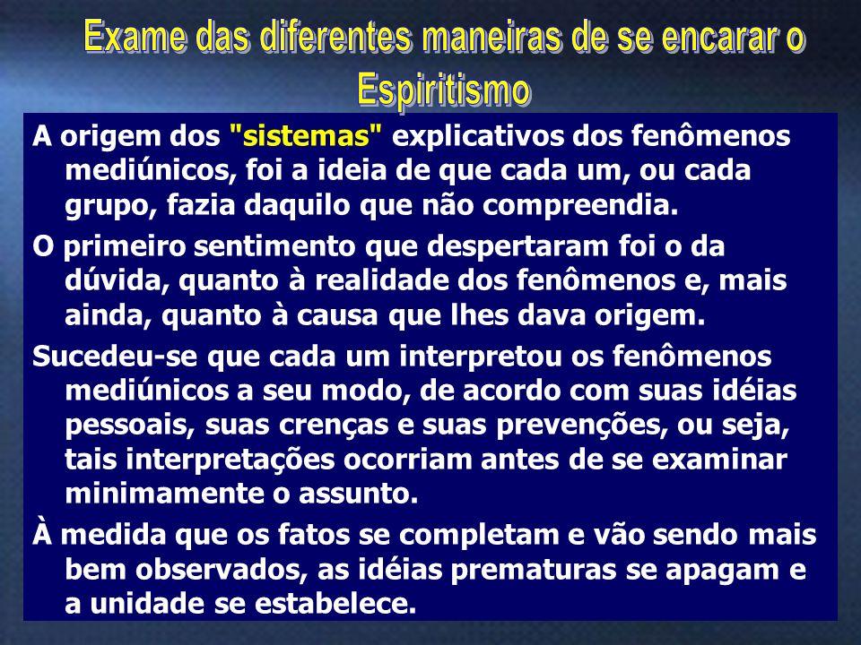 10 Os fenômenos espíritas são de duas espécies: Efeitos Físicos e Efeitos Inteligentes Não admitindo a existência dos Espíritos, por não admitirem coisa alguma fora da matéria, concebe- se que neguem os Efeitos Inteligentes.
