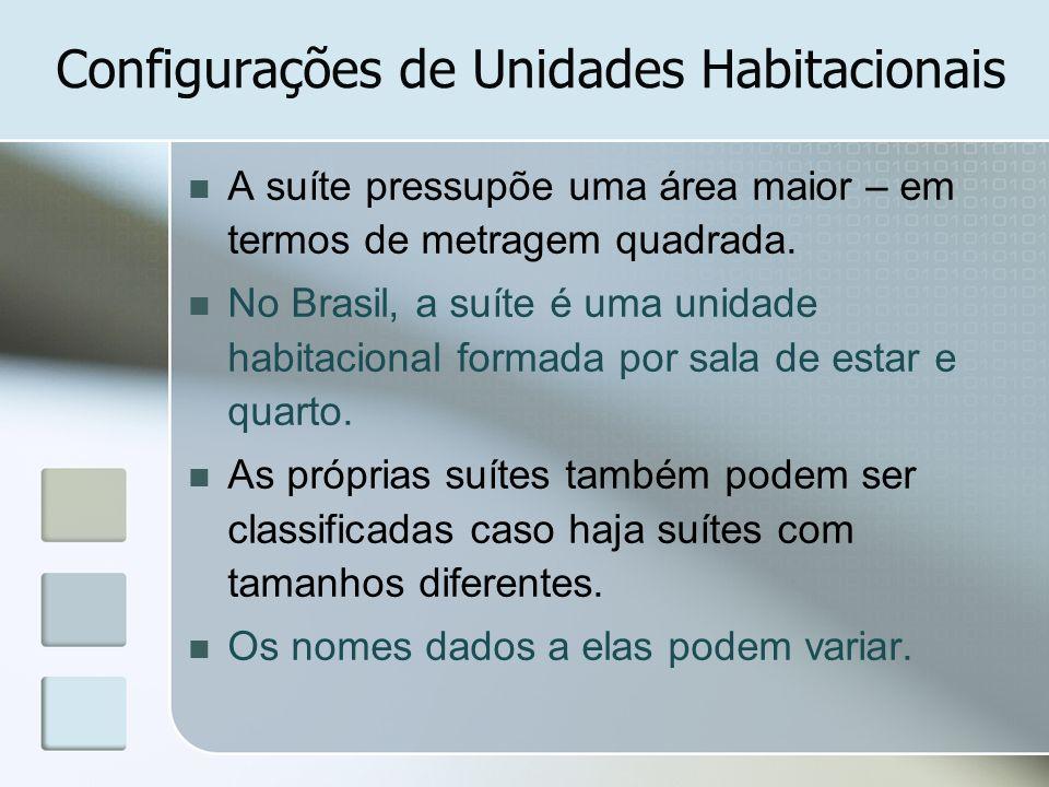 Configurações de Unidades Habitacionais A suíte pressupõe uma área maior – em termos de metragem quadrada. No Brasil, a suíte é uma unidade habitacion
