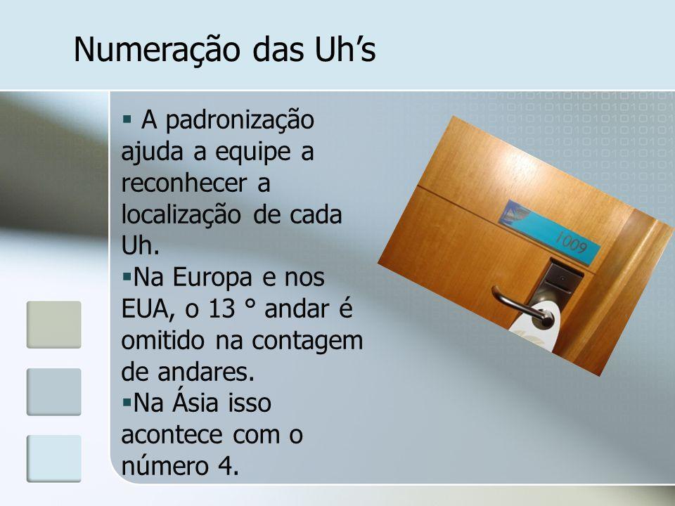 Numeração das Uhs A padronização ajuda a equipe a reconhecer a localização de cada Uh. Na Europa e nos EUA, o 13 ° andar é omitido na contagem de anda