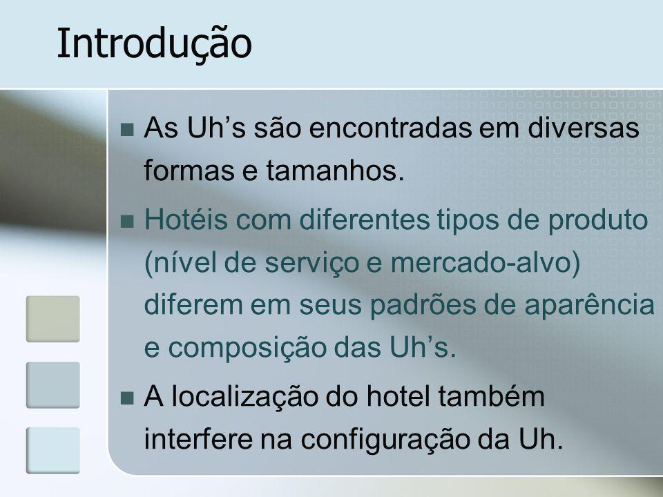 Introdução As Uhs são encontradas em diversas formas e tamanhos. Hotéis com diferentes tipos de produto (nível de serviço e mercado-alvo) diferem em s