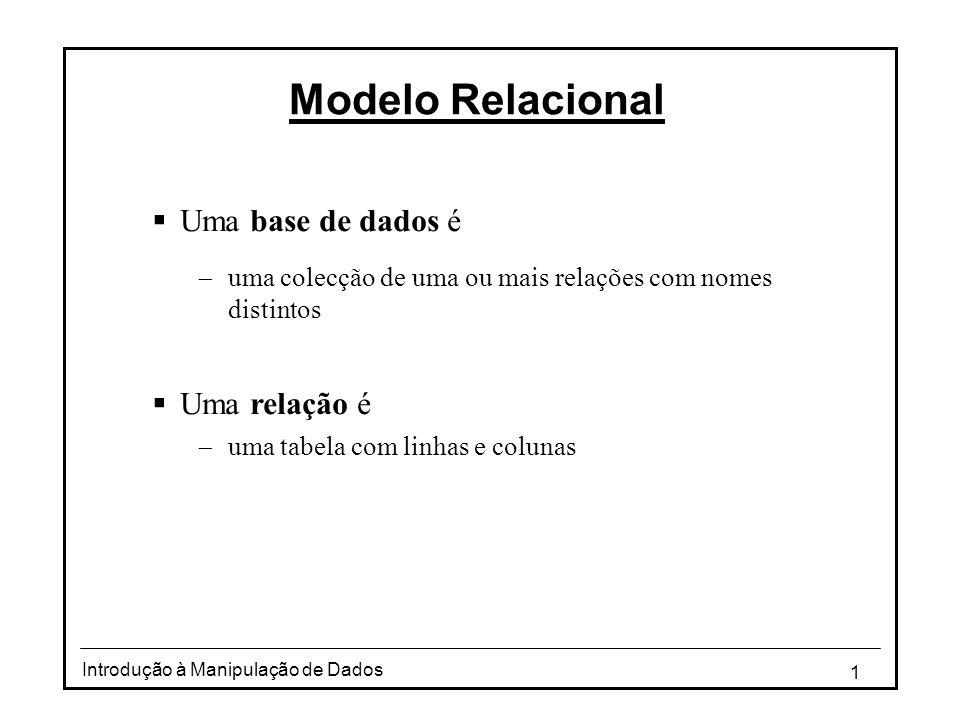 1 Introdução à Manipulação de Dados Modelo Relacional Uma base de dados é uma colecção de uma ou mais relações com nomes distintos Uma relação é uma t