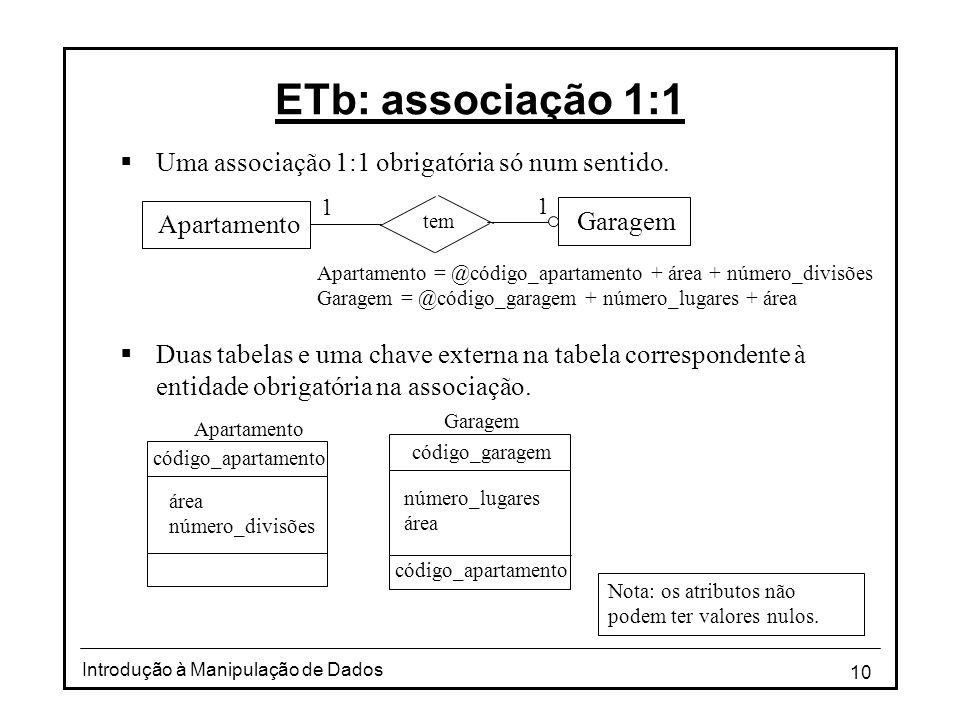 10 Introdução à Manipulação de Dados ETb: associação 1:1 Uma associação 1:1 obrigatória só num sentido. Duas tabelas e uma chave externa na tabela cor