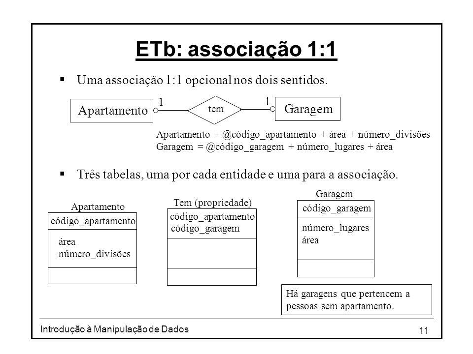 11 Introdução à Manipulação de Dados ETb: associação 1:1 Uma associação 1:1 opcional nos dois sentidos. Três tabelas, uma por cada entidade e uma para