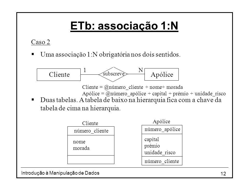 12 Introdução à Manipulação de Dados ETb: associação 1:N Caso 2 Uma associação 1:N obrigatória nos dois sentidos. Duas tabelas. A tabela de baixo na h
