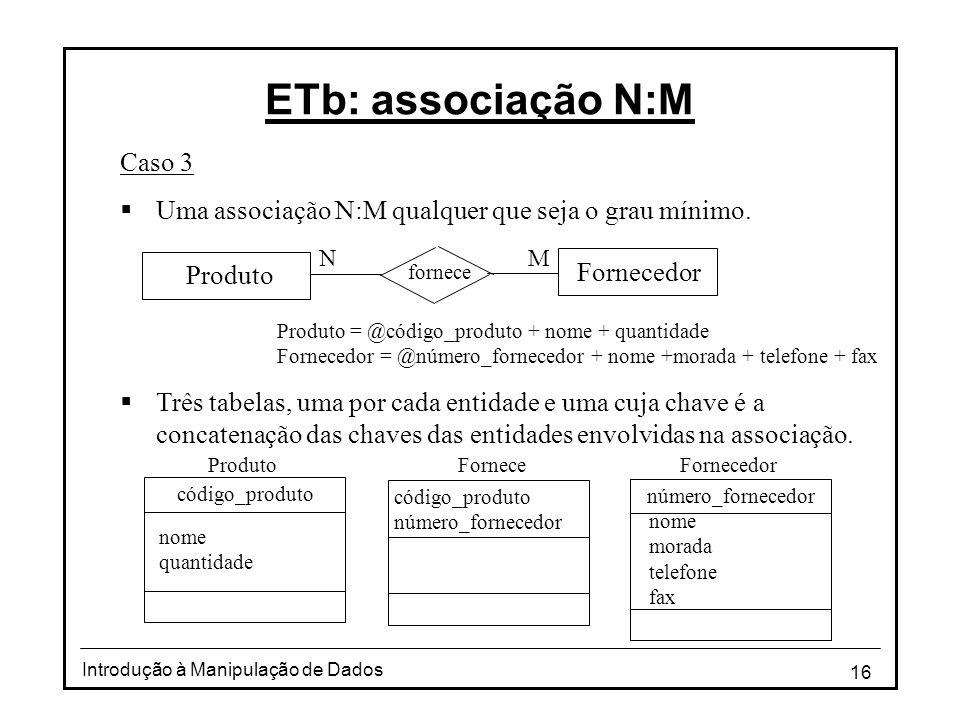 16 Introdução à Manipulação de Dados ETb: associação N:M Caso 3 Uma associação N:M qualquer que seja o grau mínimo. Três tabelas, uma por cada entidad