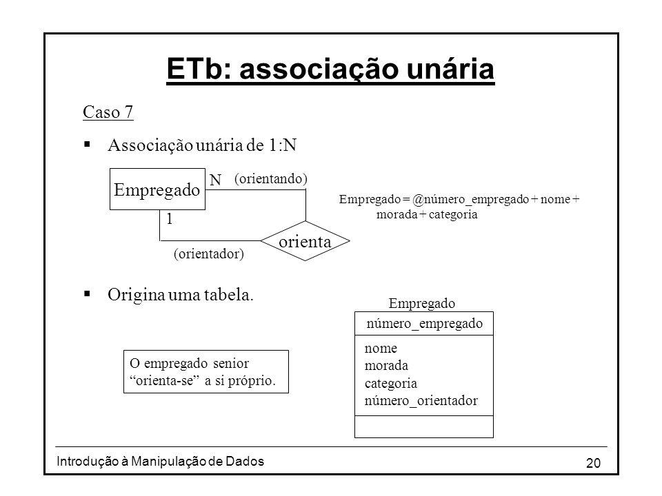 20 Introdução à Manipulação de Dados ETb: associação unária Caso 7 Associação unária de 1:N Origina uma tabela. Empregado = @número_empregado + nome +