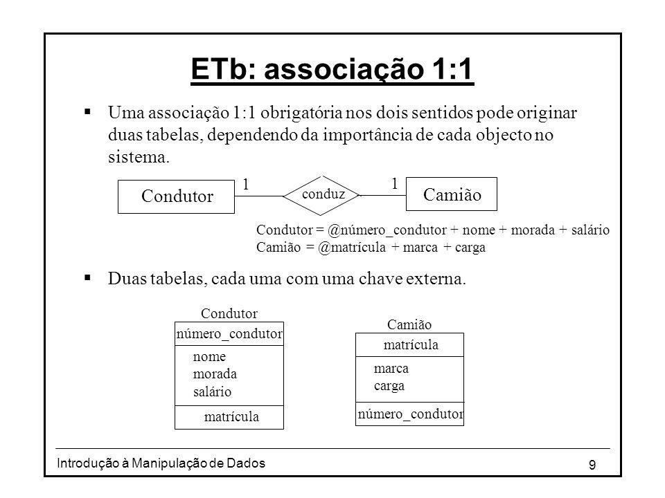 9 Introdução à Manipulação de Dados ETb: associação 1:1 Uma associação 1:1 obrigatória nos dois sentidos pode originar duas tabelas, dependendo da importância de cada objecto no sistema.