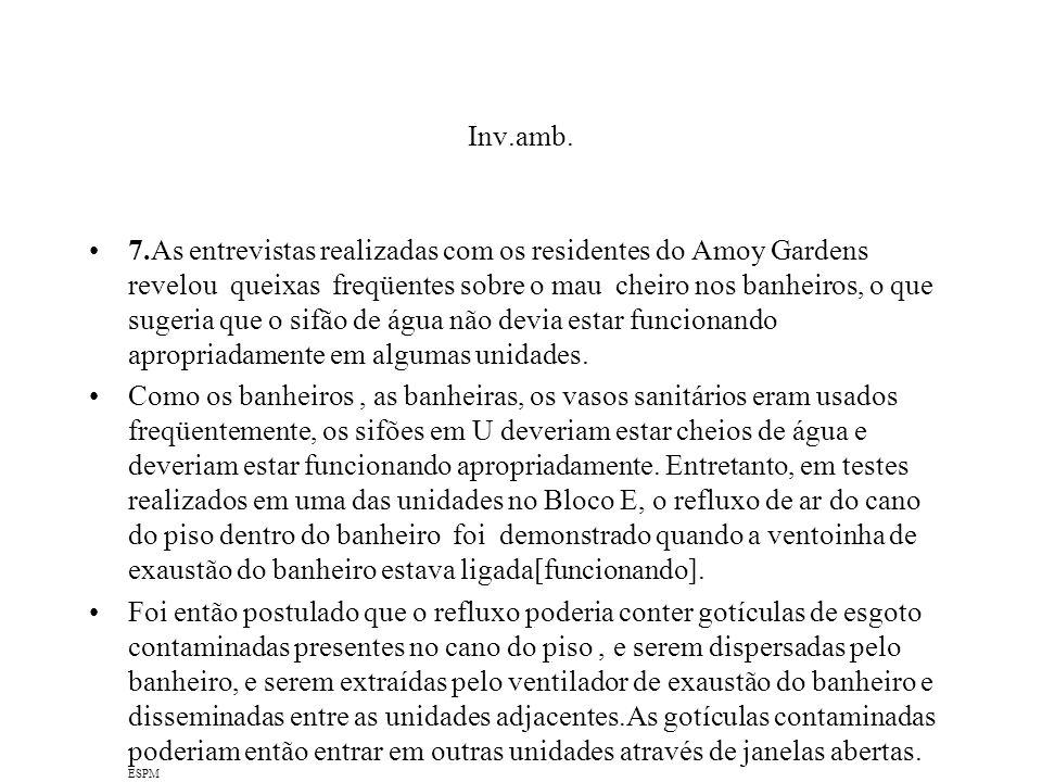 Inv.amb. 7.As entrevistas realizadas com os residentes do Amoy Gardens revelou queixas freqüentes sobre o mau cheiro nos banheiros, o que sugeria que