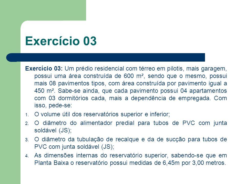 Exercício 03: Um prédio residencial com térreo em pilotis, mais garagem, possui uma área construída de 600 m², sendo que o mesmo, possui mais 08 pavim