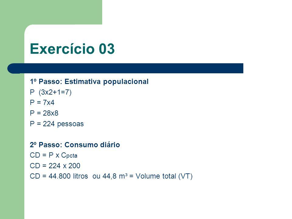1º Passo: Estimativa populacional P (3x2+1=7) P = 7x4 P = 28x8 P = 224 pessoas 2º Passo: Consumo diário CD = P x C pcta CD = 224 x 200 CD = 44.800 lit