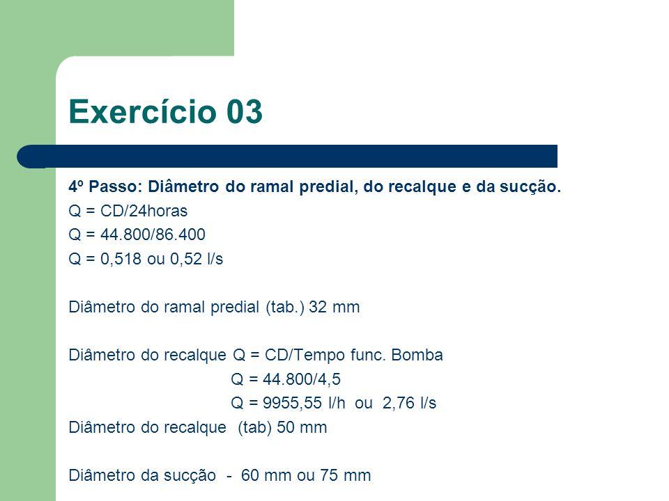4º Passo: Diâmetro do ramal predial, do recalque e da sucção. Q = CD/24horas Q = 44.800/86.400 Q = 0,518 ou 0,52 l/s Diâmetro do ramal predial (tab.)