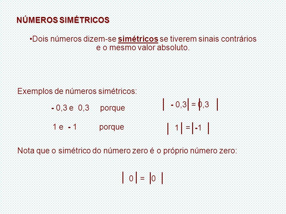 NÚMEROS SIMÉTRICOS Dois números dizem-se simétricos se tiverem sinais contrários e o mesmo valor absoluto. Exemplos de números simétricos: - 0,3 = 0,3