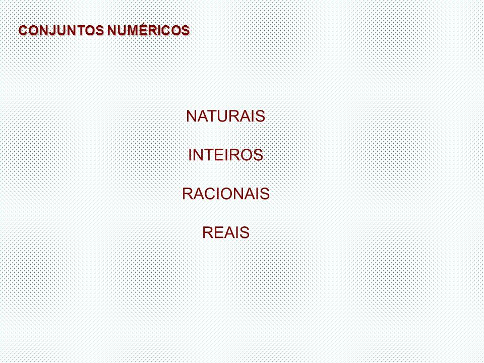 NATURAIS INTEIROS RACIONAIS REAIS CONJUNTOS NUMÉRICOS
