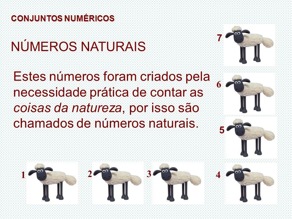 NÚMEROS NATURAIS Estes números foram criados pela necessidade prática de contar as coisas da natureza, por isso são chamados de números naturais. 7 6