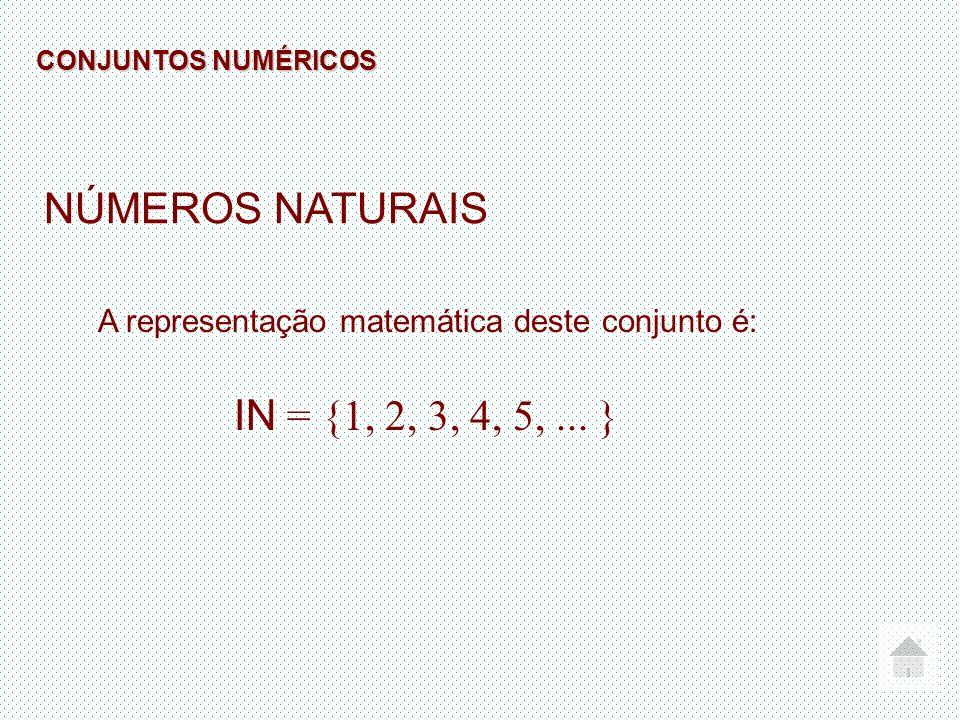 NÚMEROS NATURAIS A representação matemática deste conjunto é: IN = {1, 2, 3, 4, 5,... } CONJUNTOS NUMÉRICOS