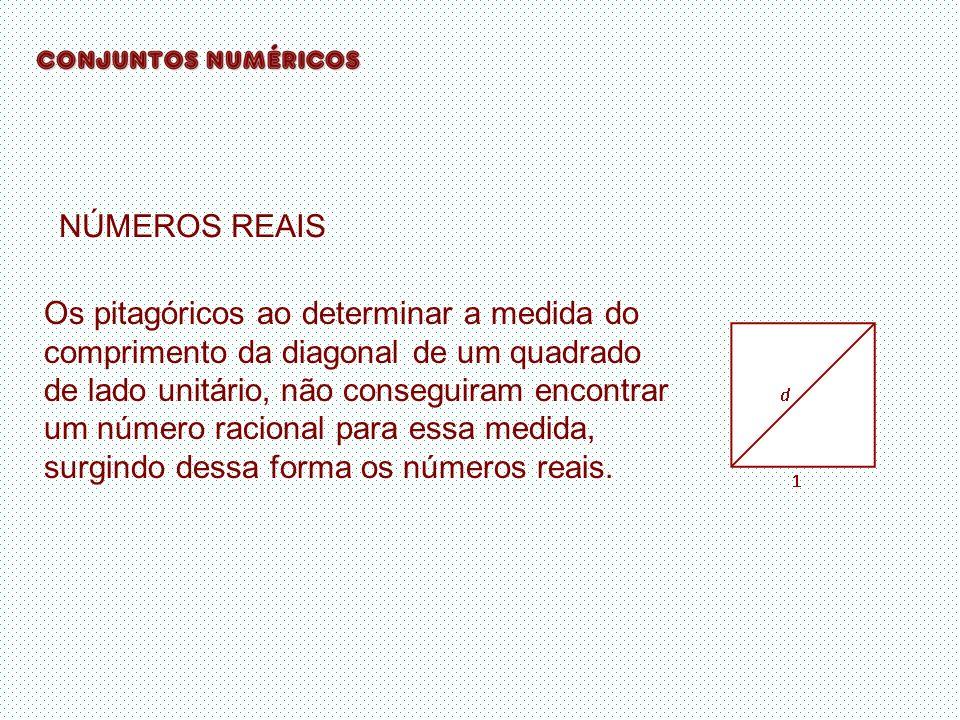 NÚMEROS REAIS Os pitagóricos ao determinar a medida do comprimento da diagonal de um quadrado de lado unitário, não conseguiram encontrar um número ra